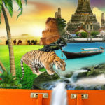 collage images of palm trees, tiger, thailand