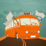 orange bus illustration with flags and city scape