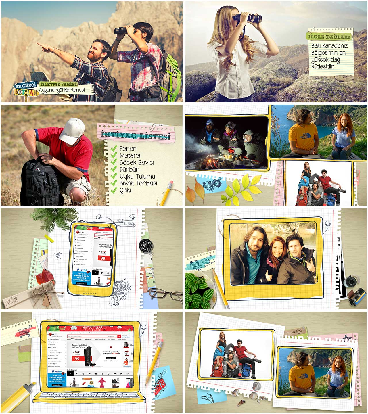 Camping program on screen graphics, pop ups, lowerthird