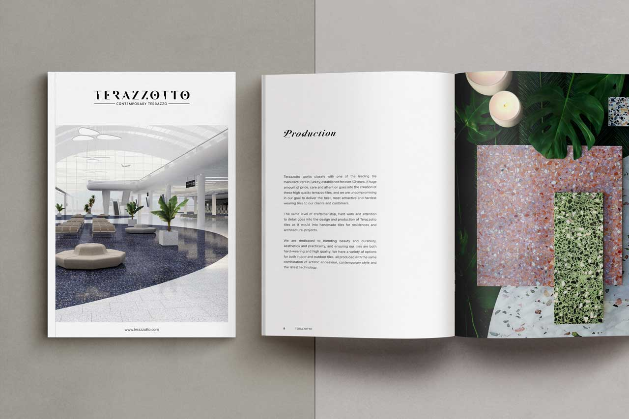 catalogue design for Terazzotto tiles