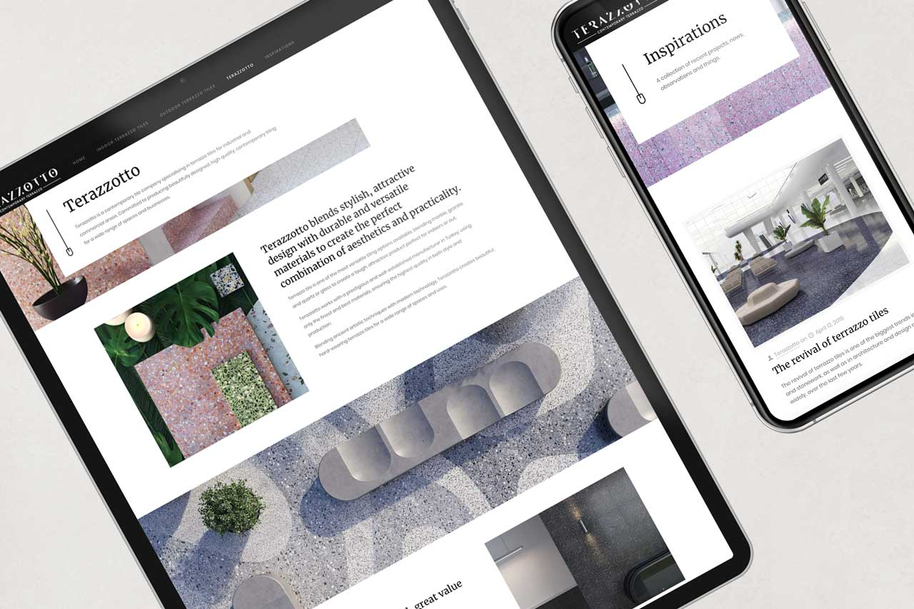 website design for Terazzotto tiles on a range of devices