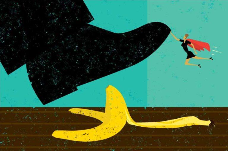 women save man stepping on banana skin clipart