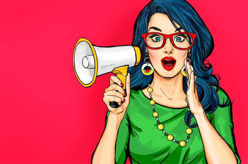 Surprised young Pop Art woman in hipster glasses. Advertising poster or party invitation with sexy club girl with open mouth in comic style. - Illustration