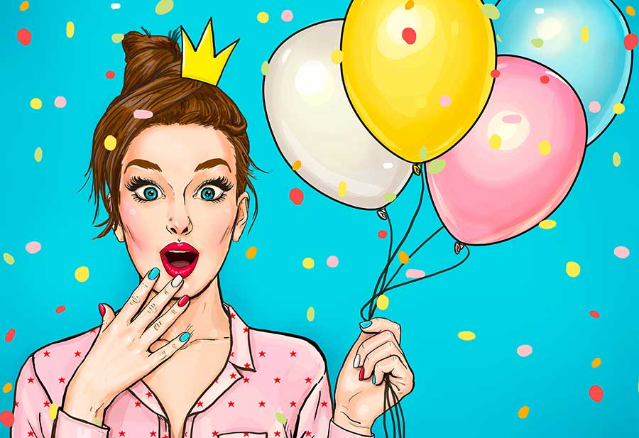 Young surprised woman with colored balloons and a princess crown on his head. Amazed fashion woman. Party invitation. Happy Birthday - Illustration