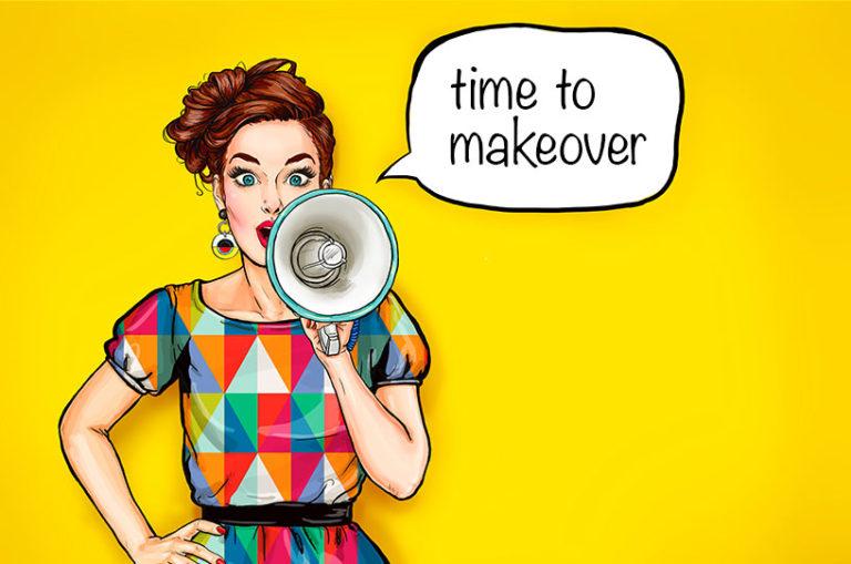pop art style women seeking n megaphone. Time to makeover text written as a caption