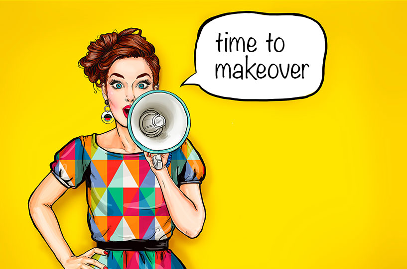 pop art style women seeking n megaphone. Time to makeover text written as a caption