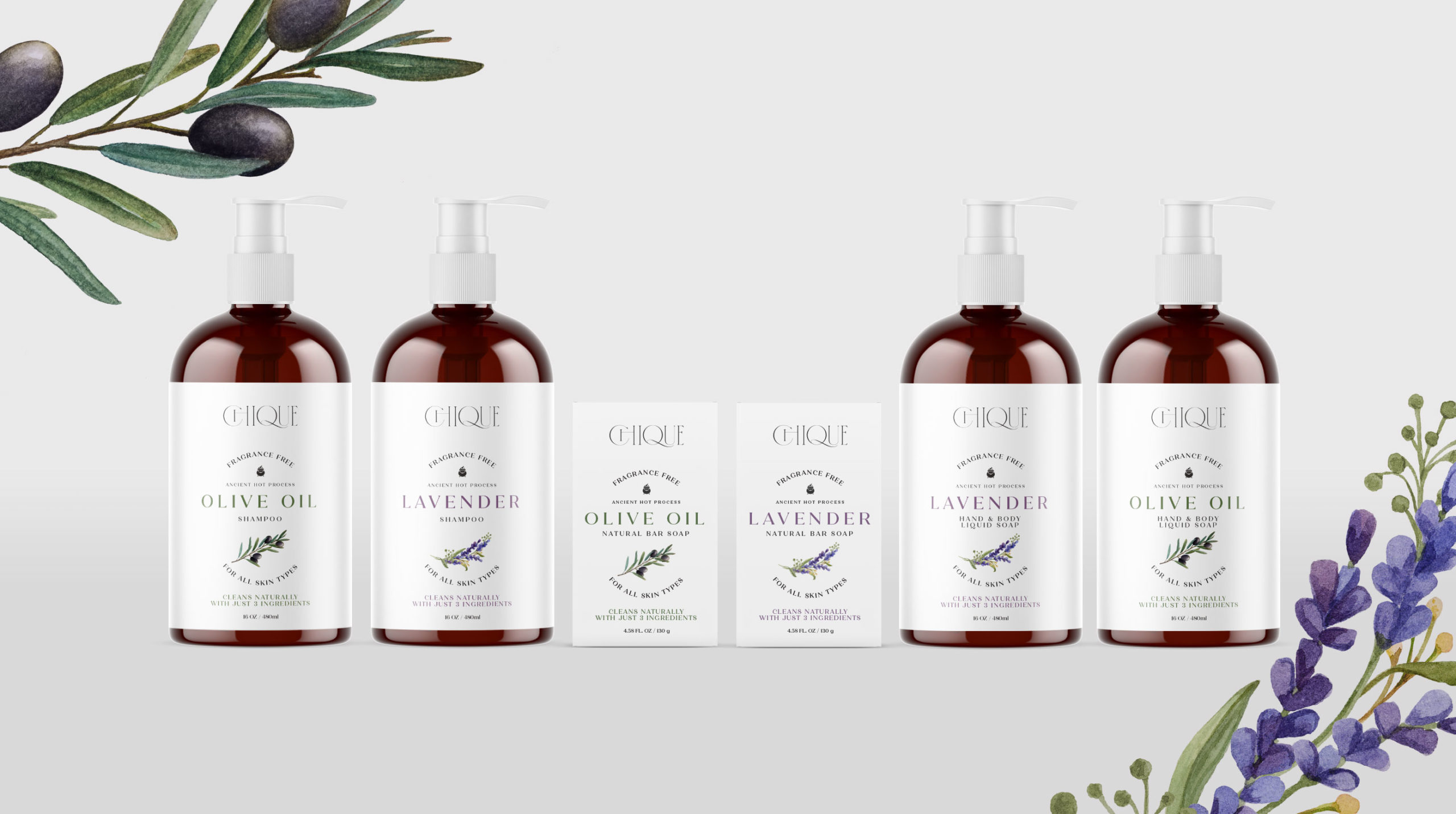 Packaging for Chique shampoos and soaps - BONB Creative & Design