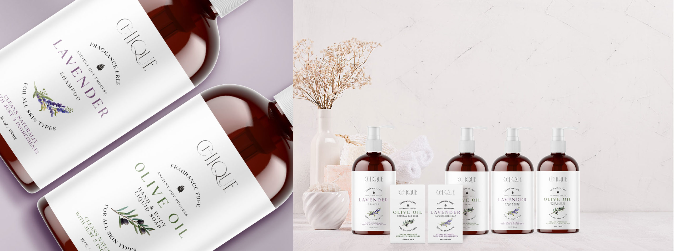 Chique shampoo and soaps – detail and product line - BONB Creative & Design