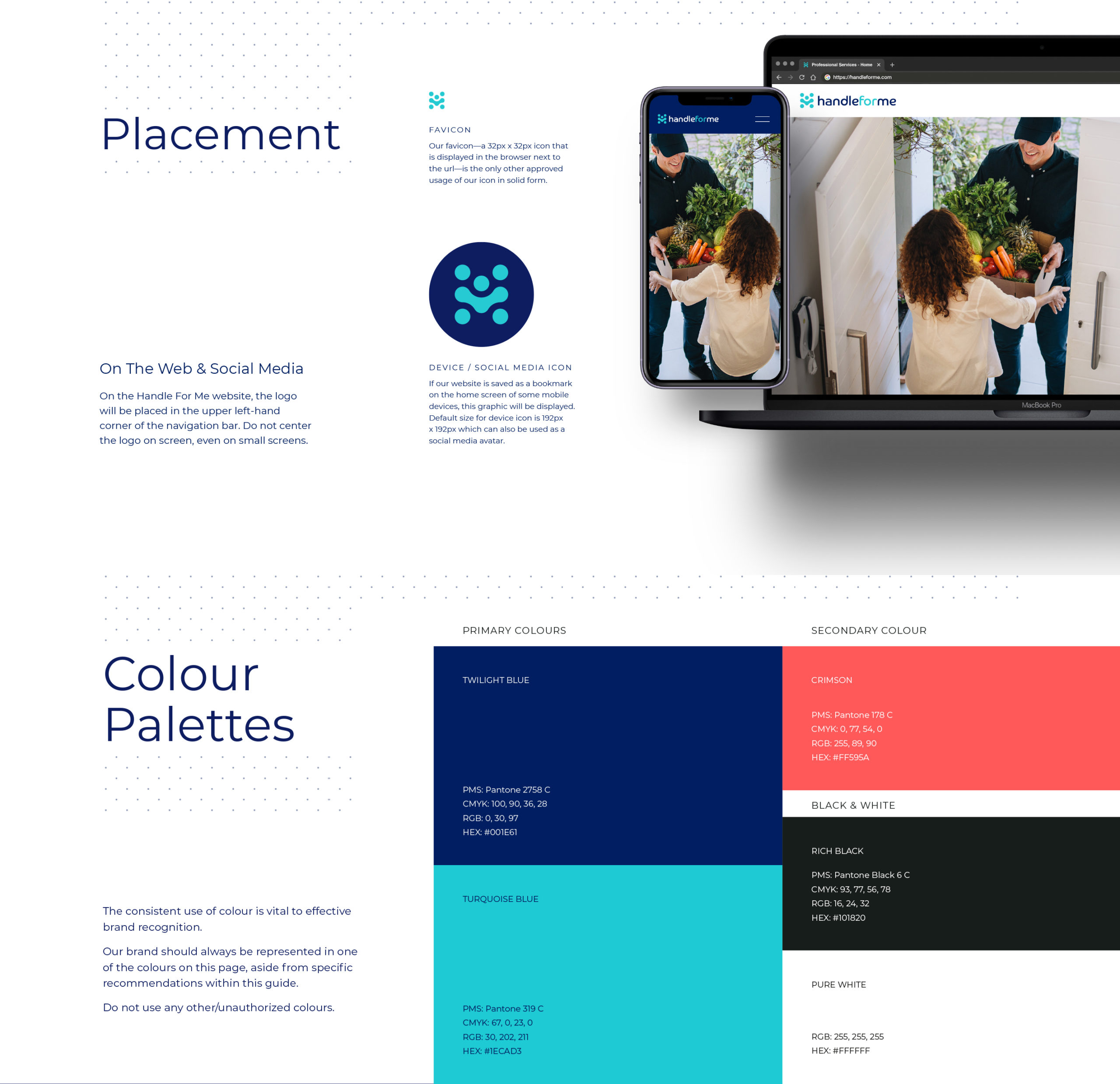 Social media icon and colour palettes supporting Handle for Me brand identity