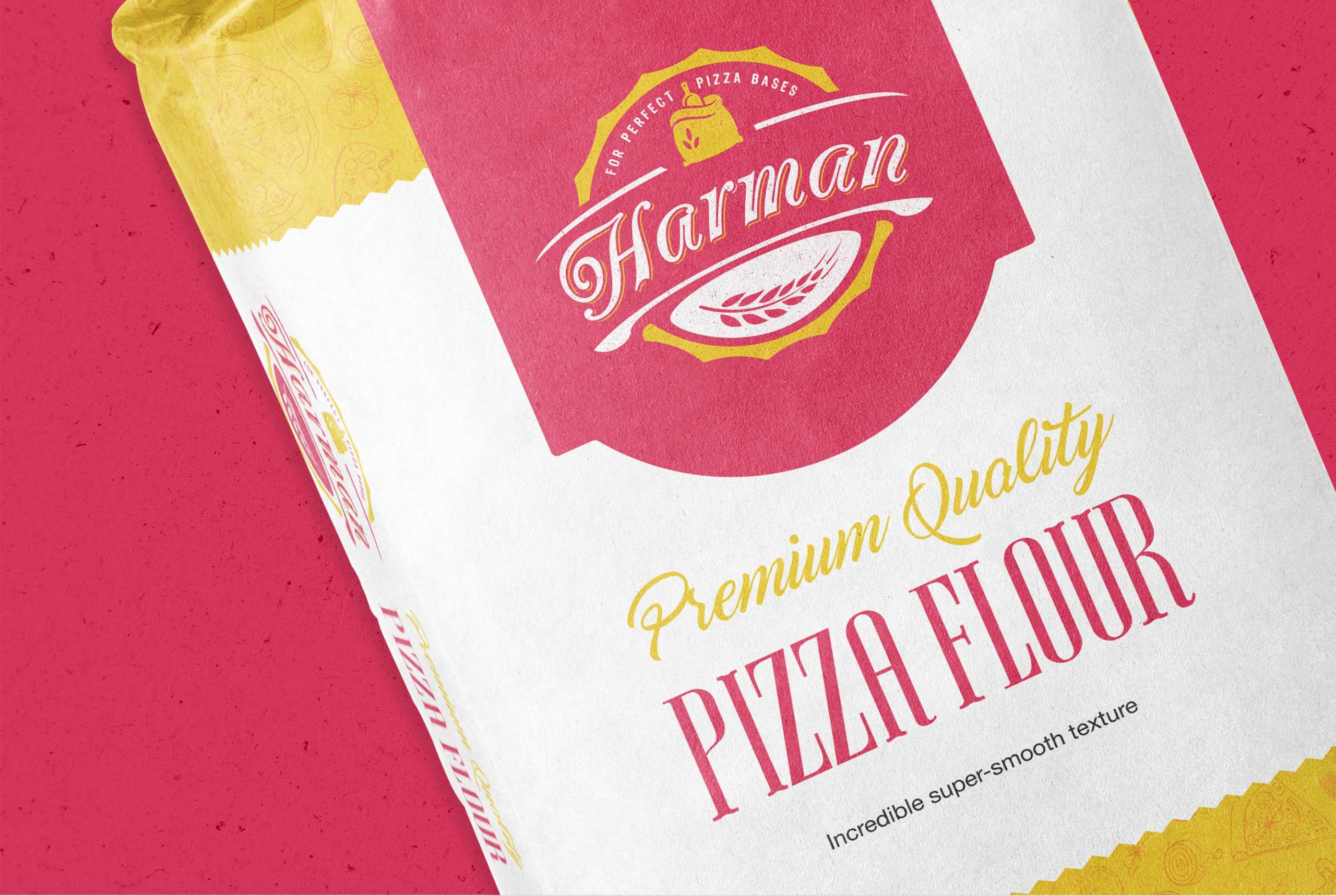 Detailed view of Harman Premium Quality Pizza Flour packaging, designed by BONB Creative & Design