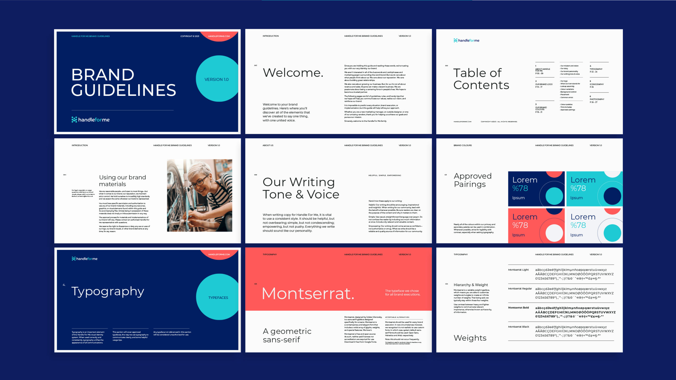 Sample pages from Handle for Me brand guidelines