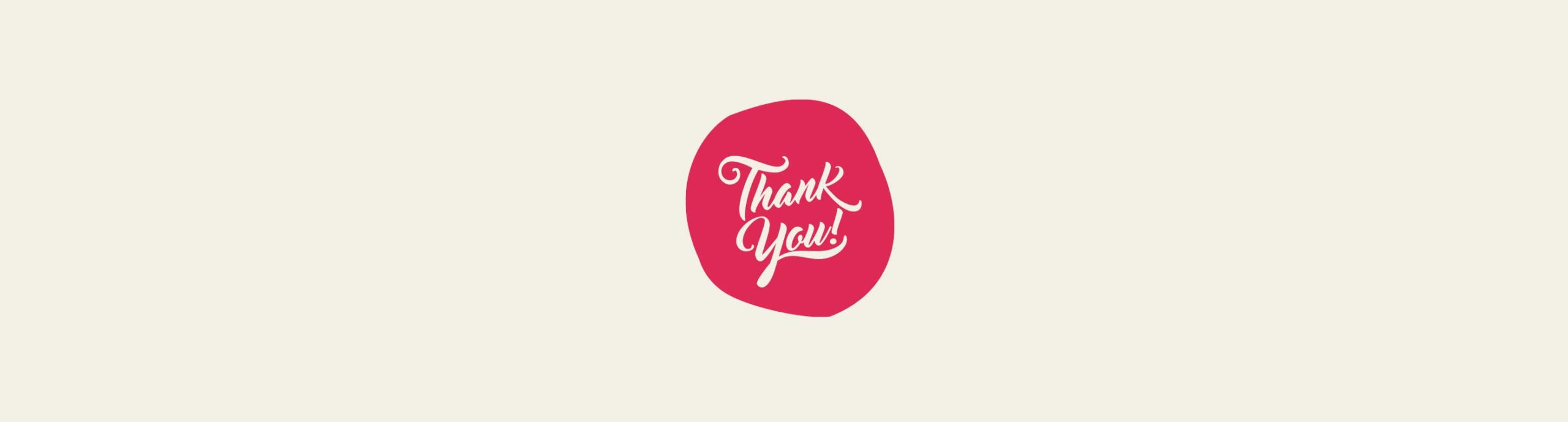 Thank you text on pink background